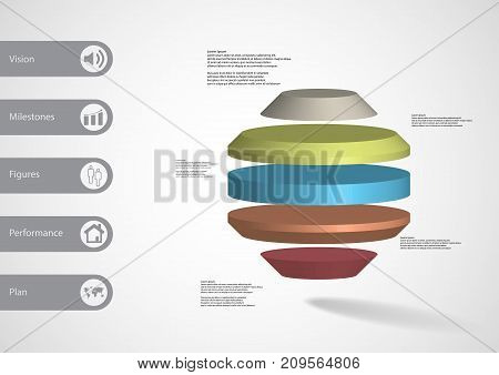 3D Illustration Infographic Template With Round Octagon Horizontally Divided To Five Color Slices