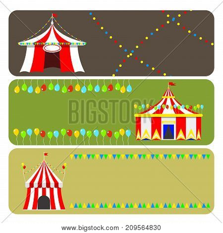 Circus tent marquee brochure card flags carnival entertainment amusement lelements flat vector. Entertainment red dome carnival park arena celebration.