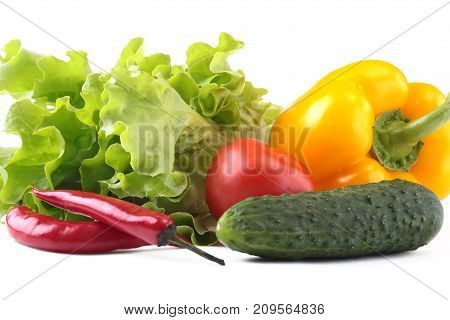 Assorted vegetables, fresh bell pepper, tomato, chilli pepper, cucumber and lettuce isolated on white background. Selective focus