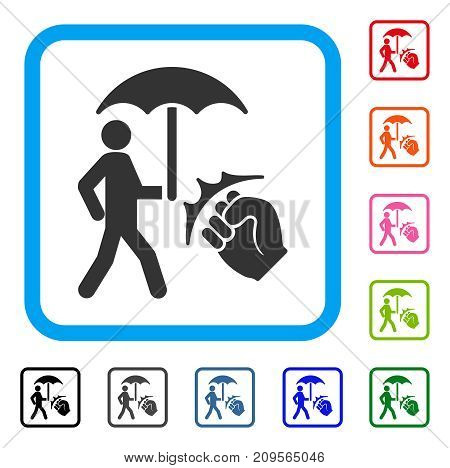 Crime Coverage icon. Flat gray pictogram symbol inside a light blue rounded frame. Black, gray, green, blue, red, orange color additional versions of Crime Coverage vector.