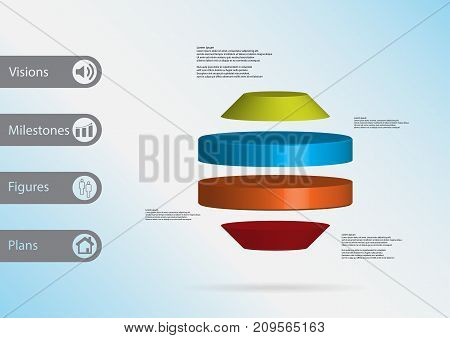3D Illustration Infographic Template With Round Octagon Horizontally Divided To Four Color Slices