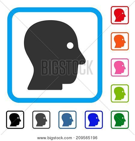 Customer Profile icon. Flat grey pictogram symbol inside a light blue rounded rectangular frame. Black, gray, green, blue, red, orange color variants of Customer Profile vector.