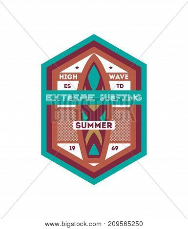 Summer extreme surfing vintage isolated label. Windsurfing society badge, sport center sign, beach activity vector illustration.