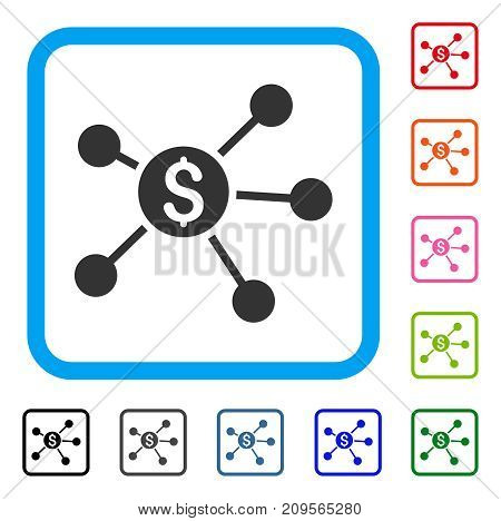 Dollar Links icon. Flat gray pictogram symbol in a light blue rounded frame. Black, gray, green, blue, red, orange color versions of Dollar Links vector. Designed for web and app user interface.