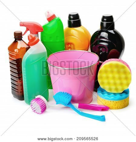 set of household chemicals bucket and brushes for cleaning isolated on white background