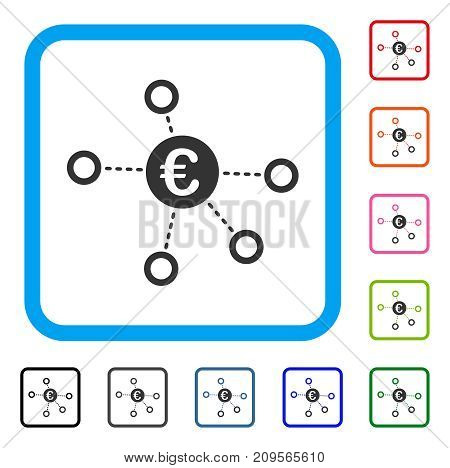 Euro Network icon. Flat grey pictogram symbol inside a light blue rounded squared frame. Black, gray, green, blue, red, orange color variants of Euro Network vector.