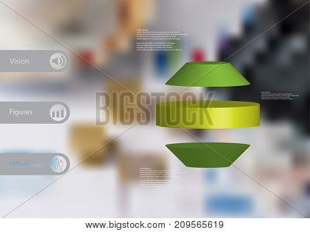 3D illustration infographic template with motif of round octagon horizontally divided to three green slices with simple sign and text on side in bars. Blurred photo used as background.