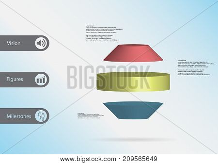 3D Illustration Infographic Template With Round Octagon Horizontally Divided To Three Color Slices