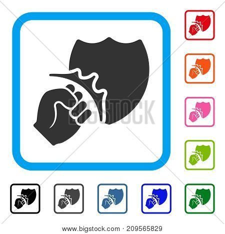 Fist Strike Shield icon. Flat grey pictogram symbol in a light blue rounded squared frame. Black, gray, green, blue, red, orange color variants of Fist Strike Shield vector.