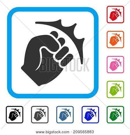 Fist Strike icon. Flat gray pictogram symbol in a light blue rounded rectangle. Black, gray, green, blue, red, orange color variants of Fist Strike vector.