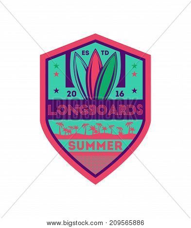 Longboards summer surfing vintage isolated label. Windsurfing society badge, sport center sign, sea activity vector illustration.