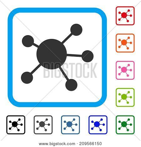 Network Links icon. Flat grey pictogram symbol in a light blue rounded squared frame. Black, gray, green, blue, red, orange color versions of Network Links vector.
