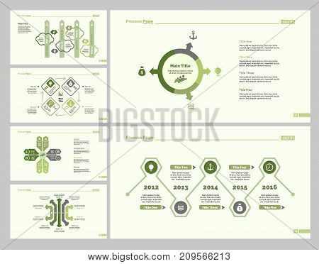 Infographic design set can be used for workflow layout, diagram, annual report, presentation, web design. Business and strategy concept with process, cycle, pie chart, timing and percentage charts.