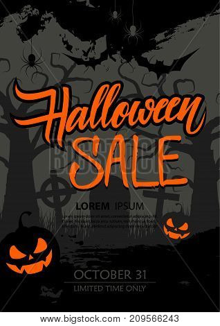 Halloween Sale special offer poster with hand drawn lettering, brush stroke and traditional holiday spooky symbols. Vector illustration.
