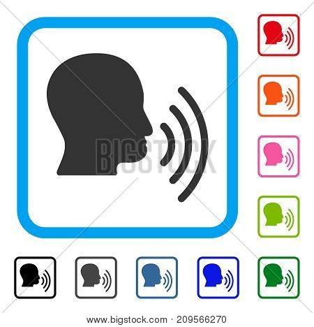 Person Speech Waves icon. Flat gray iconic symbol inside a light blue rounded frame. Black, gray, green, blue, red, orange color variants of Person Speech Waves vector. Designed for web and app UI.