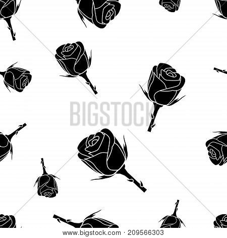 Seamless pattern of black silhouette roses on a white background with template in swatches palette . Easy to use. Vector illustration.