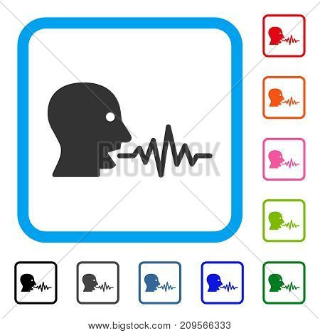 Talking User Signal icon. Flat gray iconic symbol inside a light blue rounded rectangular frame. Black, gray, green, blue, red, orange color additional versions of Talking User Signal vector.