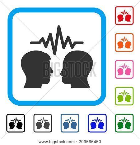 User Dialog Signal icon. Flat gray pictogram symbol inside a light blue rounded rectangular frame. Black, gray, green, blue, red, orange color additional versions of User Dialog Signal vector.
