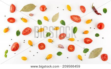 Abstract composition of vegetables. Vegetable pattern. Food background. Flat lay top view.
