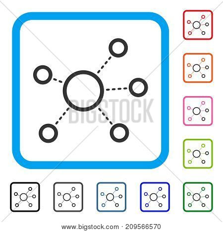 Virtual Connections icon. Flat grey iconic symbol in a light blue rounded frame. Black, gray, green, blue, red, orange color additional versions of Virtual Connections vector.