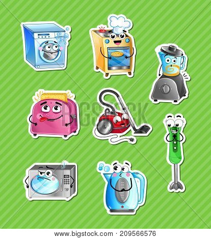 Funny household appliances cartoon characters set. Microwave oven, toaster, blender, kettle, stove, washing machine, vacuum cleaner icons. Kitchen gadgets, home electronics comic vector illustration.