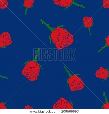 Seamless colorful pattern of roses on a blue background with template in swatches palette . Easy to use. Vector illustration.