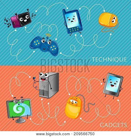Funny computer gadgets banner set. Monitor, tablet PC, wireless gamepad, computer mouse and system unit, mobile phone, radio receiver characters. Home electronic technique comic vector illustration