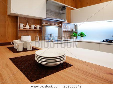 Modern white kitchen with wooden and white details minimalistic interior design