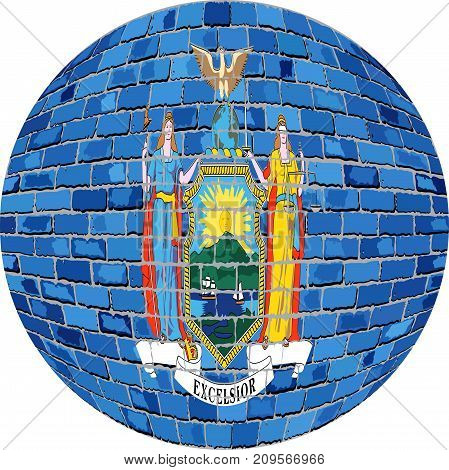 Ball with New York flag in brick style - Illustration