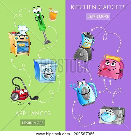 Funny kitchen gadgets banner set. Microwave oven, toaster, blender, kettle, stove, washing machine, vacuum cleaner characters. Household appliances, home electronics comic vector illustration.