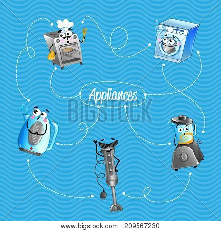 Household appliances banner in cartoon style. Blender, gas stove, electric kettle characters. Kitchen gadgets concept, home electronics poster, modern technique vector illustration.