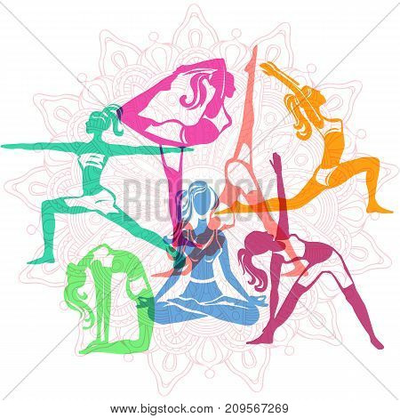 Set of vector Girls in yoga poses