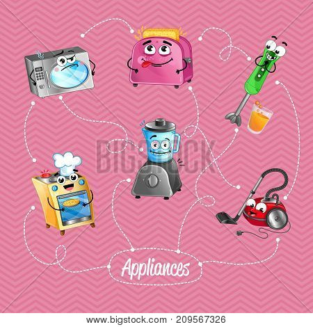 Comic house appliances banner in cartoon style. Microwave oven, toaster, blender, gas stove, vacuum cleaner characters. Kitchen gadgets concept, modern home electronics vector illustration.