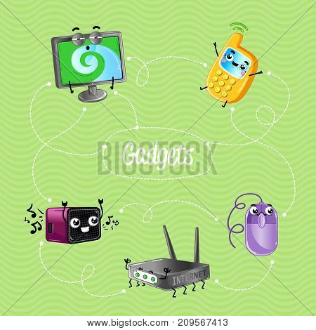 Funny computer gadgets banner in cartoon style. Monitor, wi-fi router, computer mouse, mobile phone, digital radio receiver characters. Electronic technique comic vector illustration