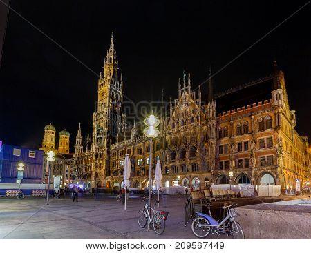 New Town Hall at Marienplatz in Munich at night. Germany. Bavaria.
