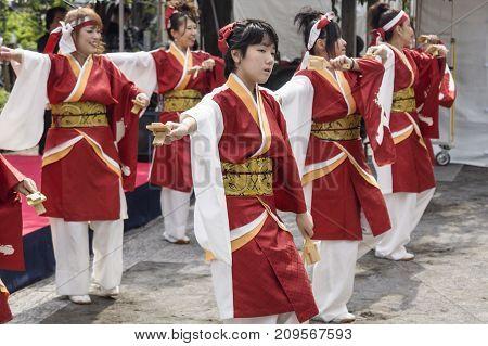 Tokyo, Japan - September 24 2017: Dancers In Traditional Clothing Perfoming Japananese Dance At Shin