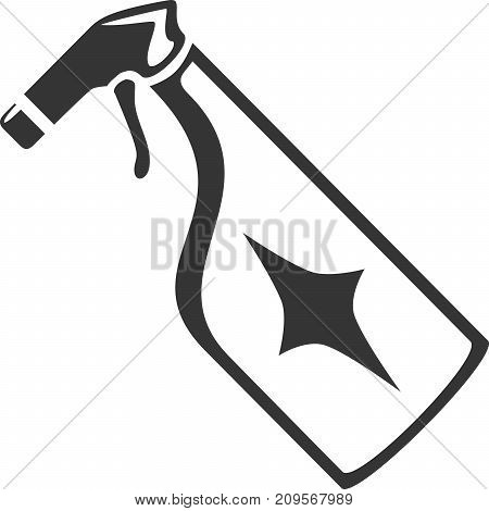 Spray Bottle with Dazzle Label - Vector Icon Shape. Cleaning Symbol for Employee Sign. Detail Product Glass or Plastic. Cleaner from Sprayer Nozzle. Housework Home and Office Supplies, Maintenance.