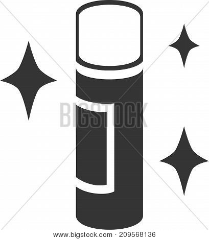 Spray Can - Dazzle Shine. Aerosol Spray Paint, Cooking Spray, Spray Adhesive, Deodorant, Hairspray, Cleaner or Air Freshener, Nozzle Spray Jet Illustration with Label and Fresh Stars. Sign or Symbol for Professional Employee Service Supplies.