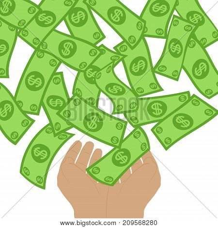Money flow falling to hands from above. Profit making concept. Lottery win falling dollars to palms background. Cash flying rain. Vector illustration.