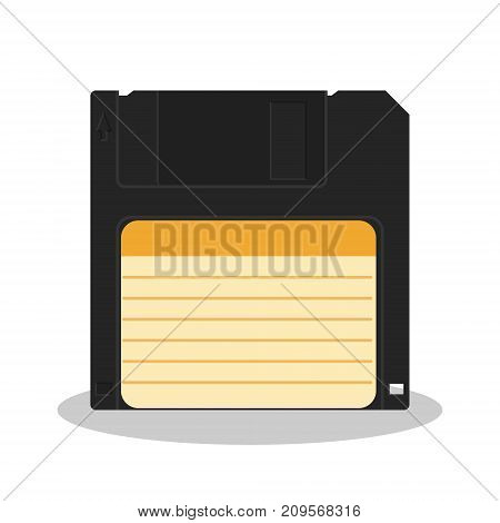 Retro floppy diskette isolated on a white background. Vintage style data storage icon. Old computer data carrier. Vector illustration.