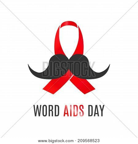 Flat red ribbon and mustache illustration for world aids day