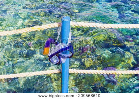 Mask and tube for swimming near the sea at Sharm el Sheikh, Egypt
