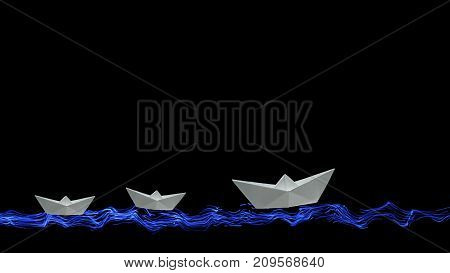 Three white origami paper boats sail on the painted sea and waves on a black background at the bottom of the screen with copy space for your inscription above. Leadership concept.