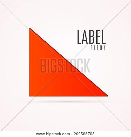 Empty triangular tag template. Fiery mark illustration