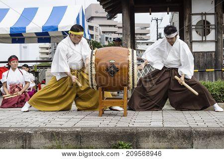 Tokyo, Japan - September 24 2017: Concentrated Drummers In Traditional Clothing At Shinagawa Shukuba
