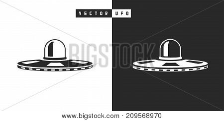 Vector alien spacecraft ufo icon in black and white silhouette