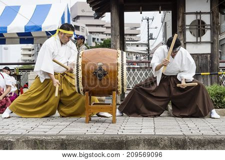 Tokyo, Japan - September 24 2017: Concentrated Drummers In Traditional Clothing At Shinagawa Shukuba
