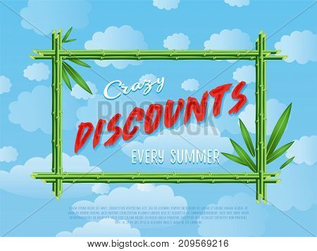 Crazy discounts every summer poster. Summer proposition in bamboo frame on background of blue sky. Best offer advertisement for retail, seasonal shopping, sale promotion vector illustration.