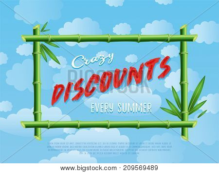 Crazy discounts every summer poster. Best offer advertisement for retail, seasonal shopping, sale promotion vector illustration. Summer proposition in bamboo frame on background of blue sky.