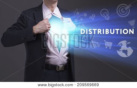 Business, Technology, Internet And Network Concept. Young Businessman Shows The Word: Distribution